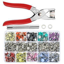 200 Sets Colorful Metal Sewing Buttons Snap Fasteners Solid/