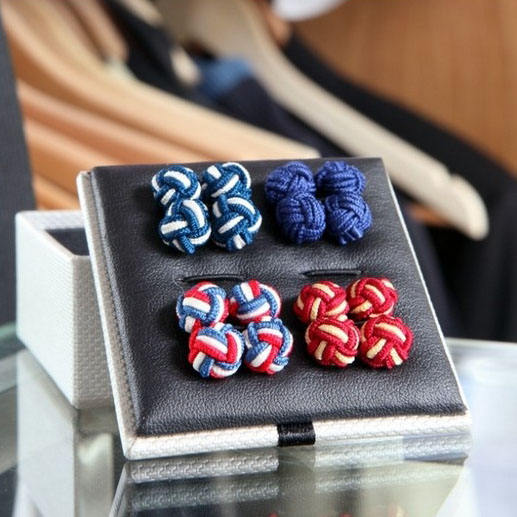 Custom Colorful Elastic Silk Knot Cufflink For Men`s T-shirt