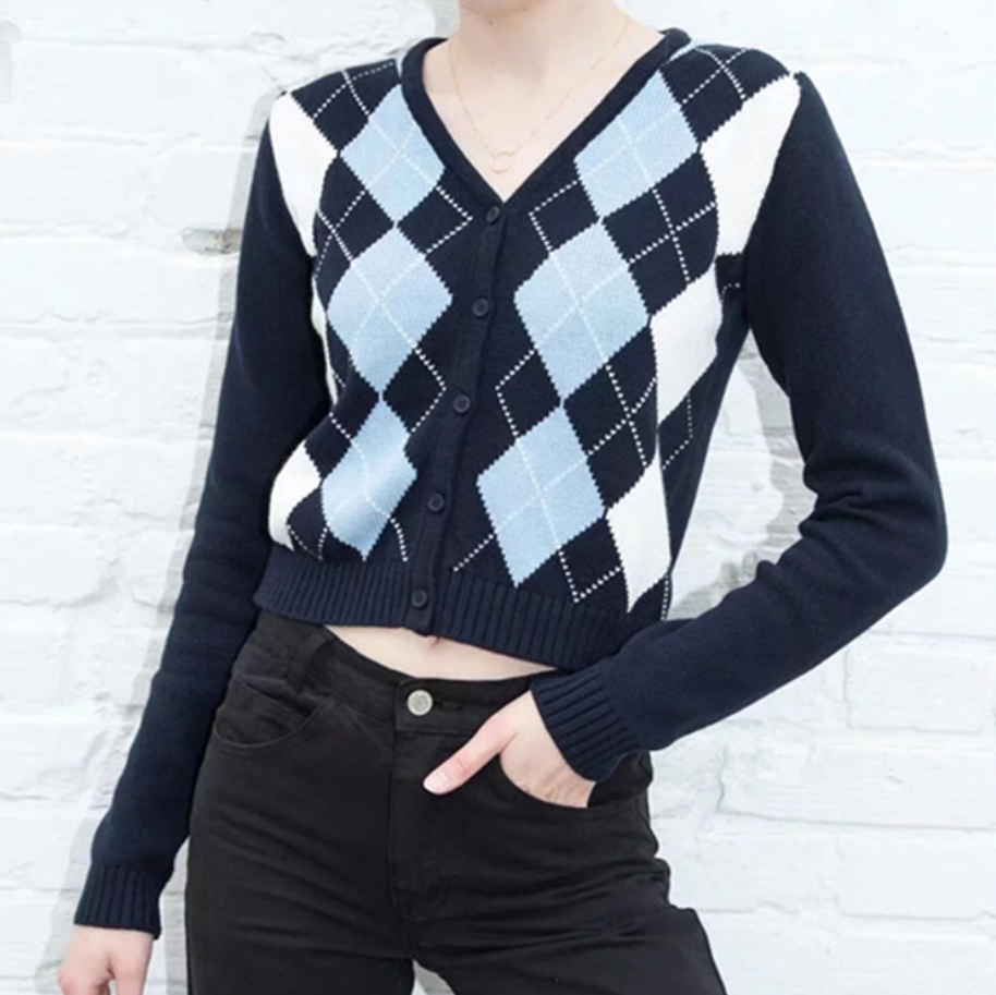2020 Spring Winter New Style Single Breasted Cardigan Women Knitted Sweater Grid Plaid Sweater