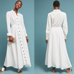New Fall Women Clothes Button Up Long White Shirt Maxi Dress For Woman