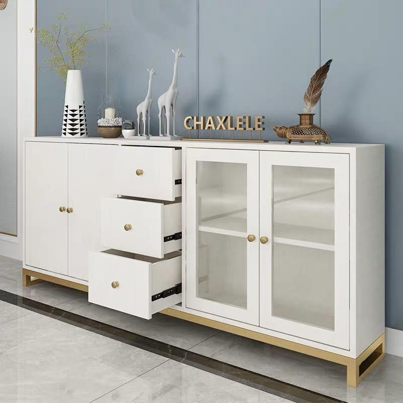 Modern white tableware collect solid wooden painting sideboard for dinning room