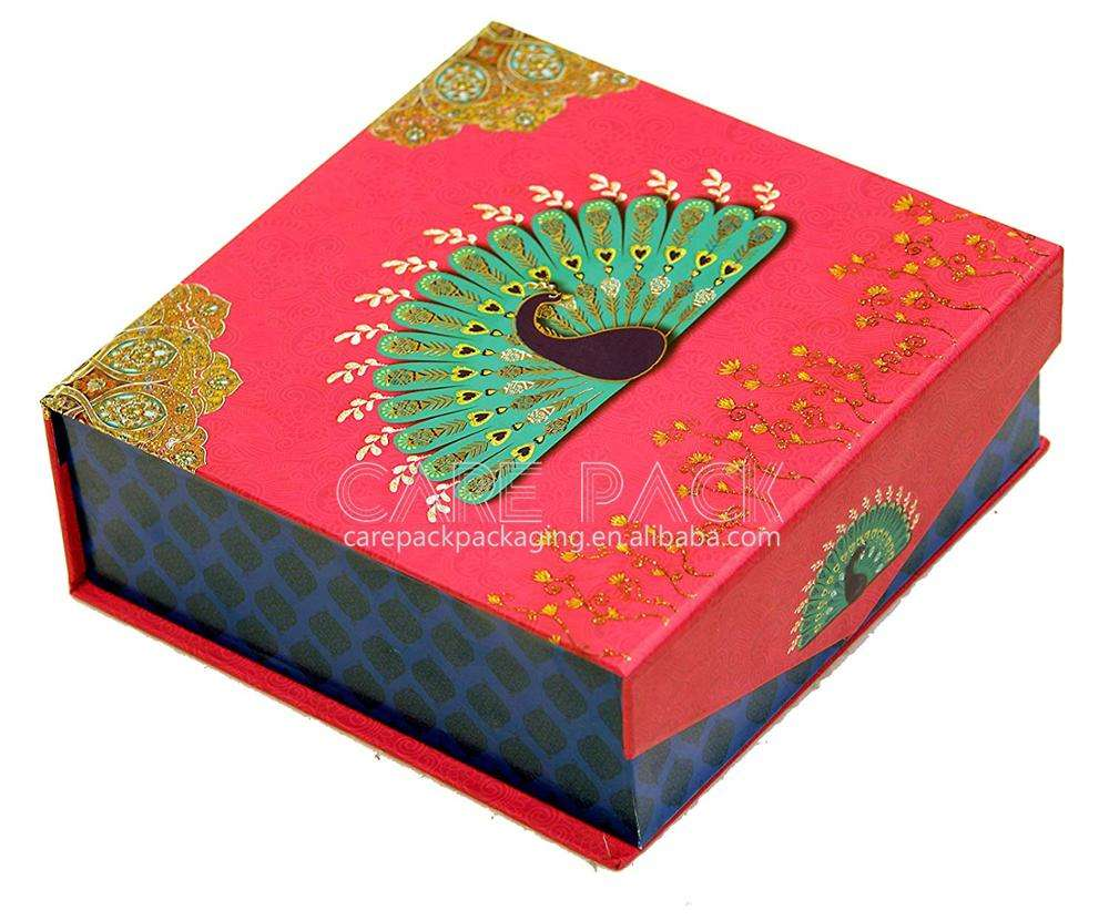 Empty Laddu Peacock Cardboard Texture Decorative Mithai gift box peacock With Magnet Lock