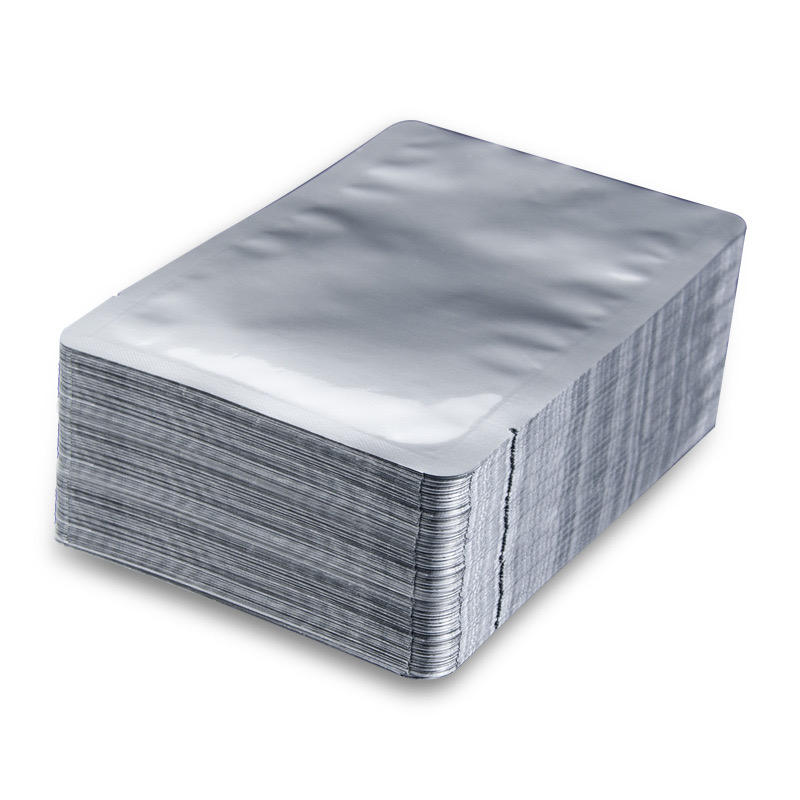 Silver Food Grade Vacuum Heat Sealable Aluminum Foil Bag Open Top Mylar Foil Packing Pouches Bulk Food Storage Bags