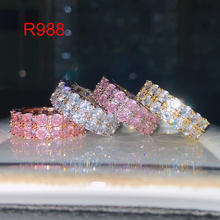 Wholesale wedding jewellery luxury round cut diamond bijoux rings jewelry women