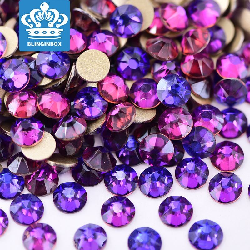 High Quality 16 Cut Facets 100% Good Feedback Purple Velvet Glass Diamond Stone Flat Back Non Hot Fix Crystal Rhinestone In Bulk