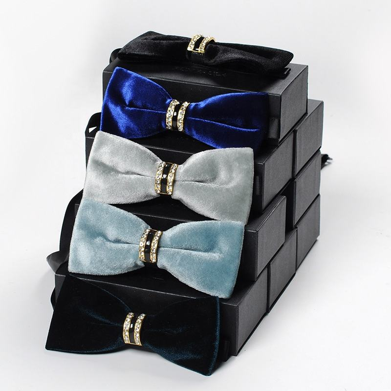 Velvet Solid Wedding Bow Tie High-end Formal Men's Bow Tie