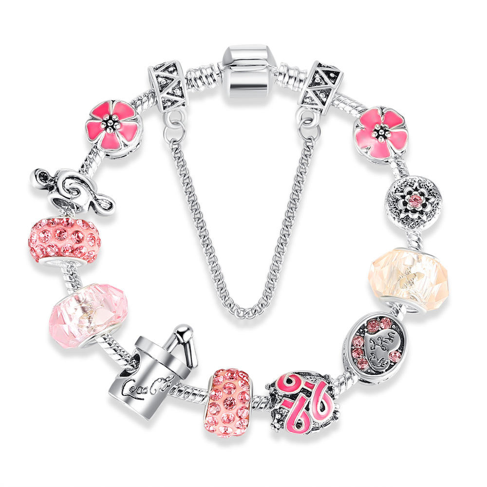 Pink Crystals Awareness Ribbon Antiqued Silver Heart 5mm Hole Dangle Charm Bead