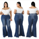 Women Fashion High Waist Wide Leg Pants Bell Bottoms Jeans Lady Retro Flare Jean for girls