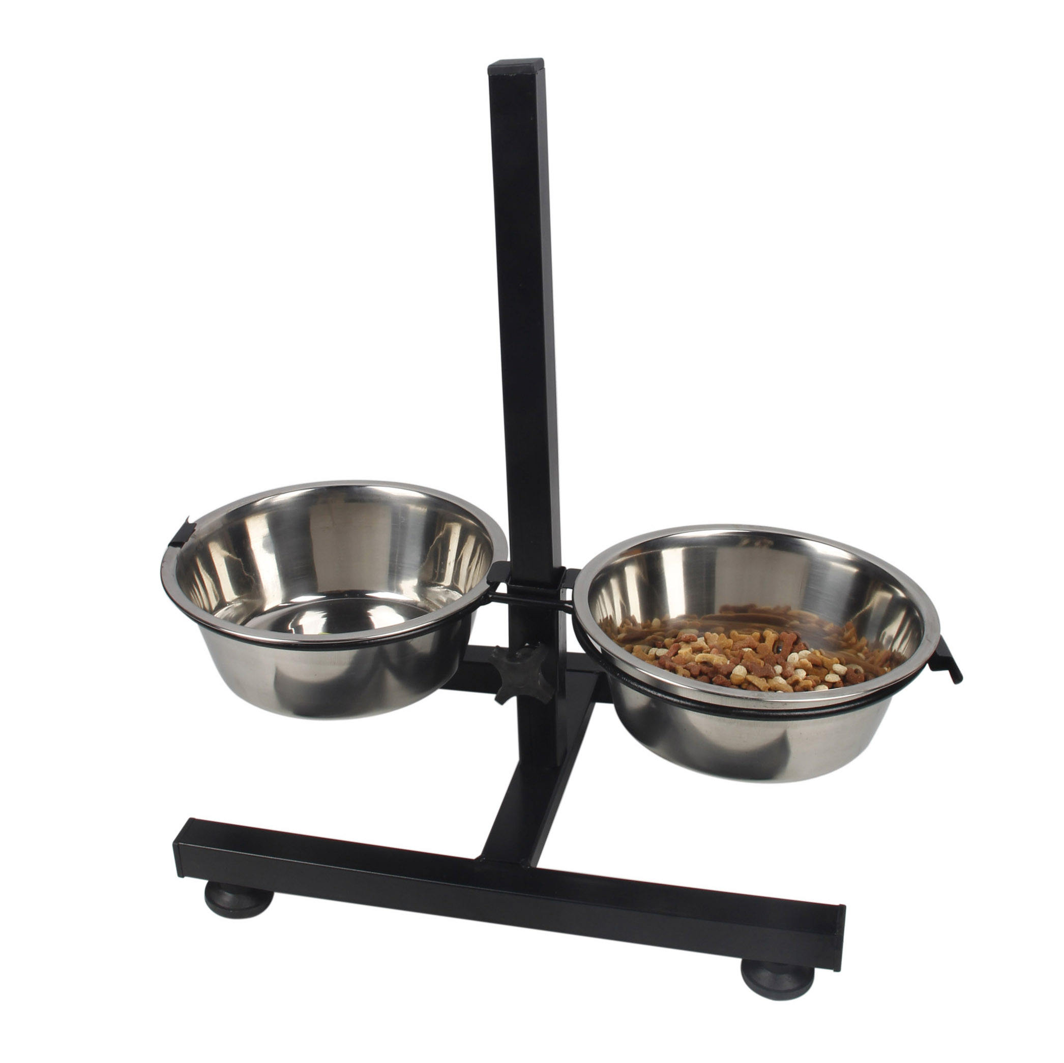 Adjustable Raised Large Metal 304 Stainless Steel Elevated Double Dog Food Water Bowl