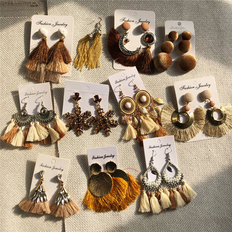 CLARMER Fashion Party Jewelry Bohemian Exaggerated Drop Earrings Ethnic Style Vintage Cotton Thread Tassel Earrings