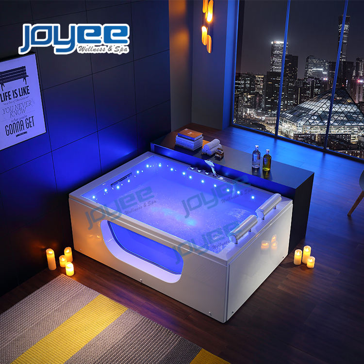 JOYEE New Design Luxury Massage Bathtub Freestanding Glass Hot Tub with Jacuzzi Function Spa for 2 Person