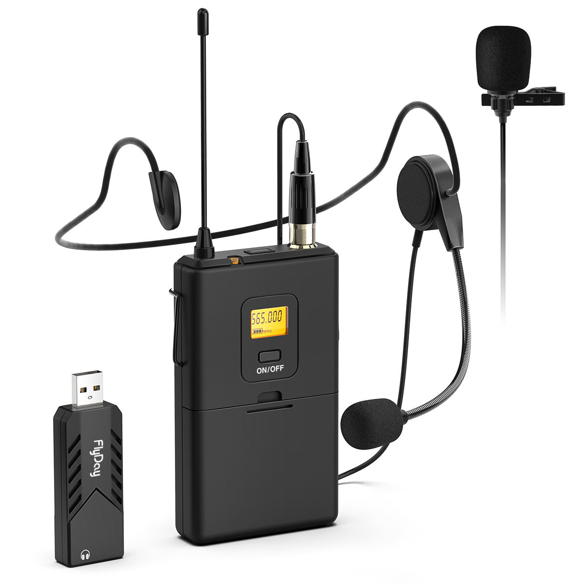 OEM USB Wireless Microphone System for PC Headset & Clip Lavalier Lapel Mic for Live Broadcast Recording K031B