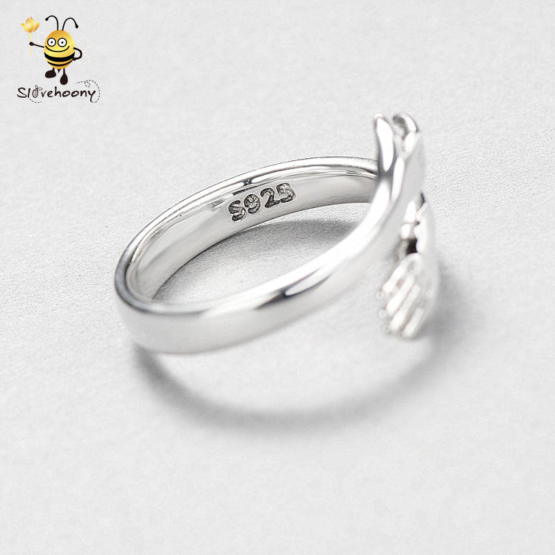 Resizable Bijoux Femme 925 Sterling Silver Fashion Jewelry b2b Trust Your Hands Power Ring For Woman