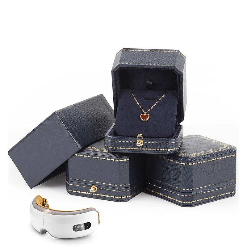 Hot Deal [ Navy Blue Gift Box ] Navy Blue Luxury Jewelry Girlfriend Gift Display Packaging Necklace Box