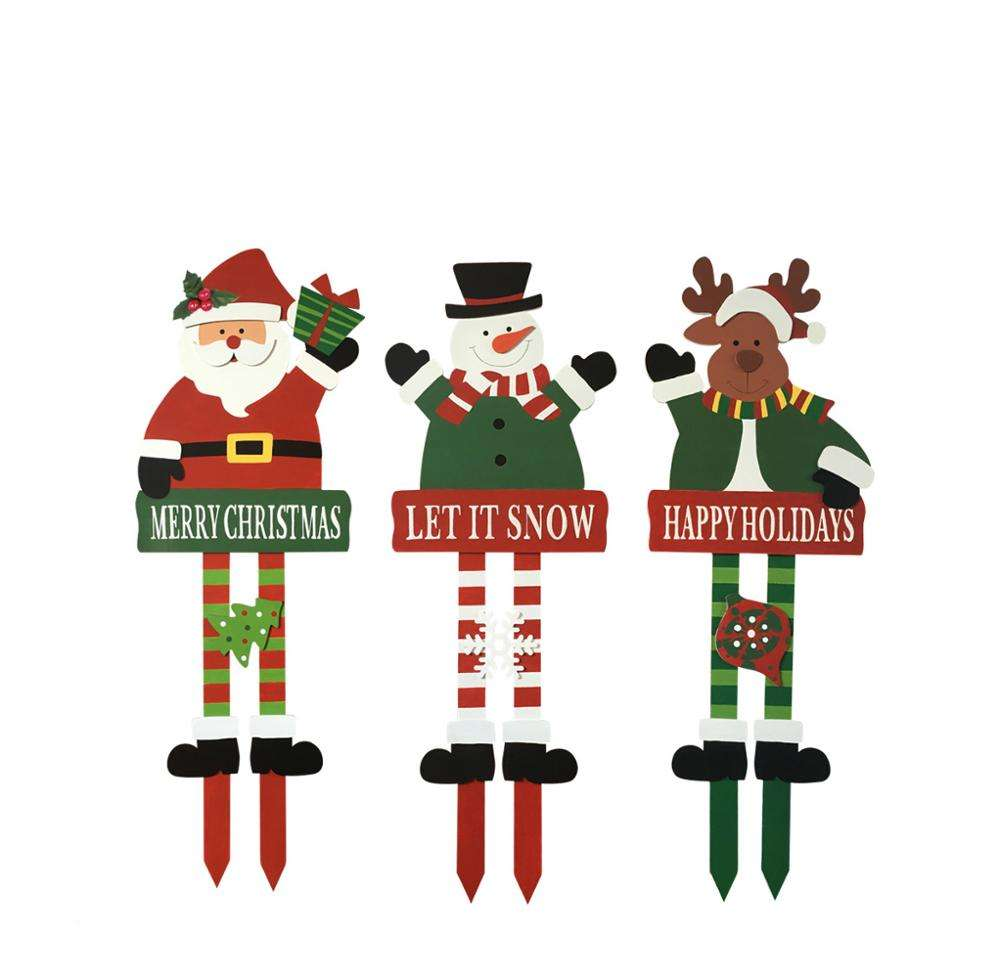 Wooden christmas decorative garden stake xmas holiday yard stake hot sale