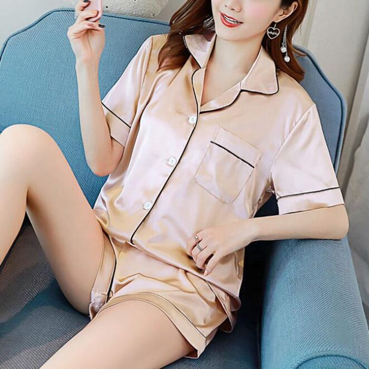 Chinese factory wholesale customized satin suit homewear sleepwear pyjamas