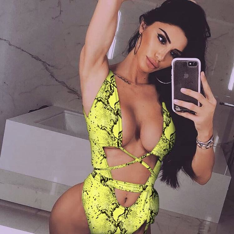 New design summer leopard swimsuit women sexy bikini 5 colors one piece girls swimwear