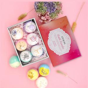 Wholesale custom private label and packaging natural organic ring bath bomb set custom gift bath bomb
