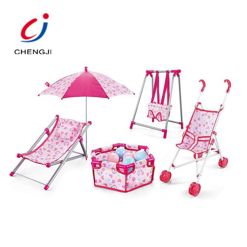 Funny pretend play game plastic chair stroller 5 in 1 baby toy doll house play set