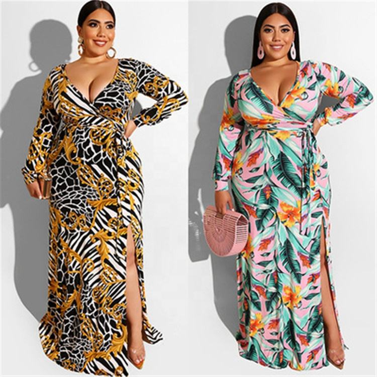 2021 Women Plus Size Floral Layered Ruffle V-neck Casual Dresses Plus Size Women Clothing