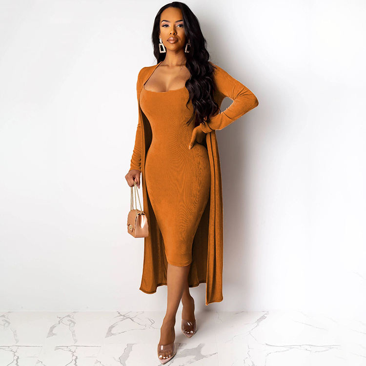 Outfits Women Two Pieces 2019 Fall Winter Sleeveless Solid 2 piece Bodycon Velvet Dress With Long Coat