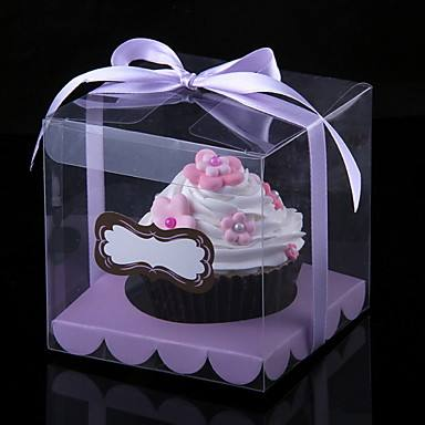 Luxury Custom Transparent PET Cupcakes Packaging Box Clear
