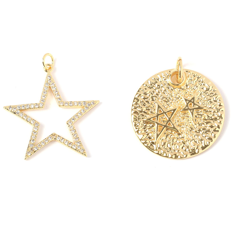 Zircon Real Gold Plated Star Charm for jewelry making