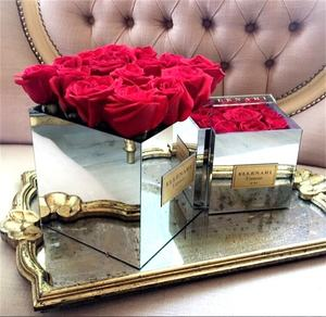 9 holes square acrylic flower box silver mirror acrylic rose box