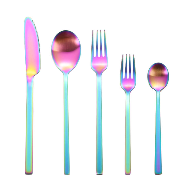 Rainbow Cuttlery Eco Friendly Wedding Gift Ocean Stainless Steel Cutlery Set