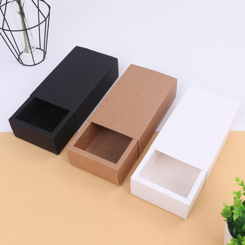 High Quality Contracted Design Folding Drawer Box Kraft paper Gift Box