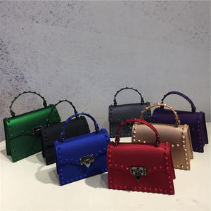 2021 fashion ladies rainbow color single shoulder bag matte pvc bag rivet jelly purse handbags for women luxury purses