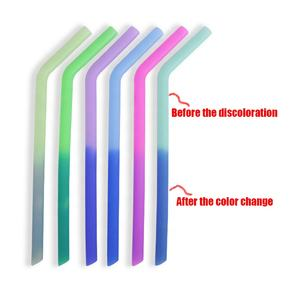 Eco-friendly Bpa-free Reusable New Arrival Biodegradable Large Diameter Silicone Color Changing Drinking Straw