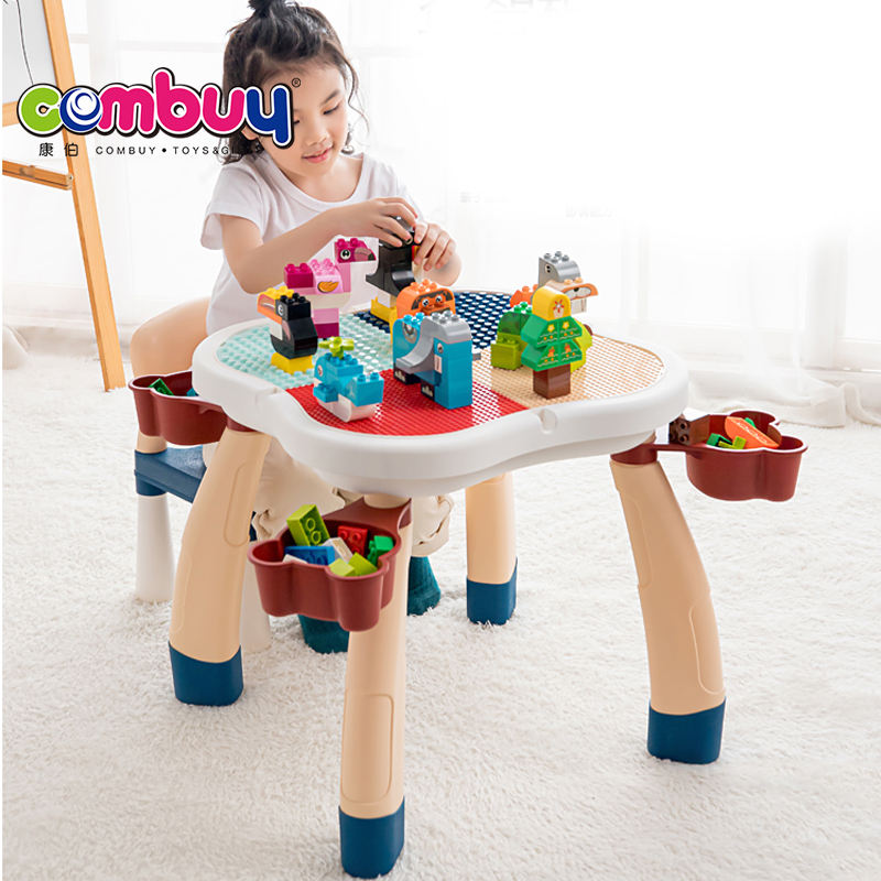 Plum shaped multi function creative desk diy toys children building block table