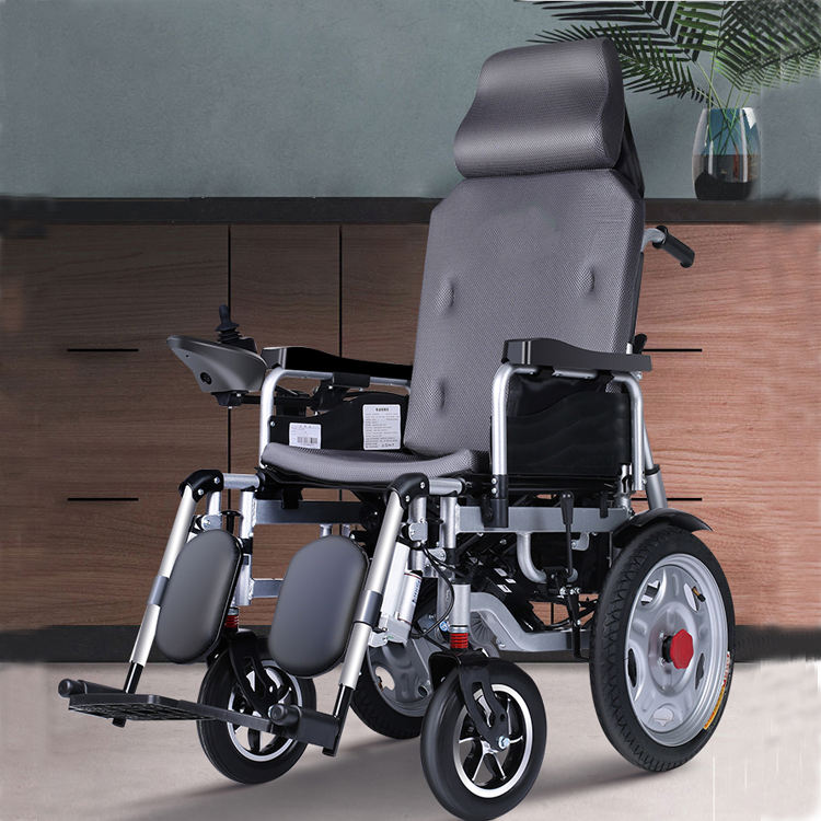 Lightweight Transport Electric Chair with Locking Hand Brakes, 16Rear Wheels, Removable & Flip Up Arms for Easy Transfer grey