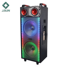 Dual 12 inch party speaker karaoke portable trolley speaker with disco light