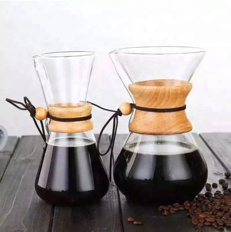 400ml 600ml 800ml Borosilicate Glass Filter Drip Coffee Maker/Coffee Dripper Pot with wood handle