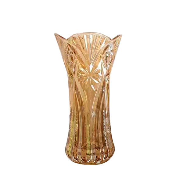 Different Types of Wholesale Cheap Baccarat Color Flower Gold Glass Crystal Vase For Home Decor