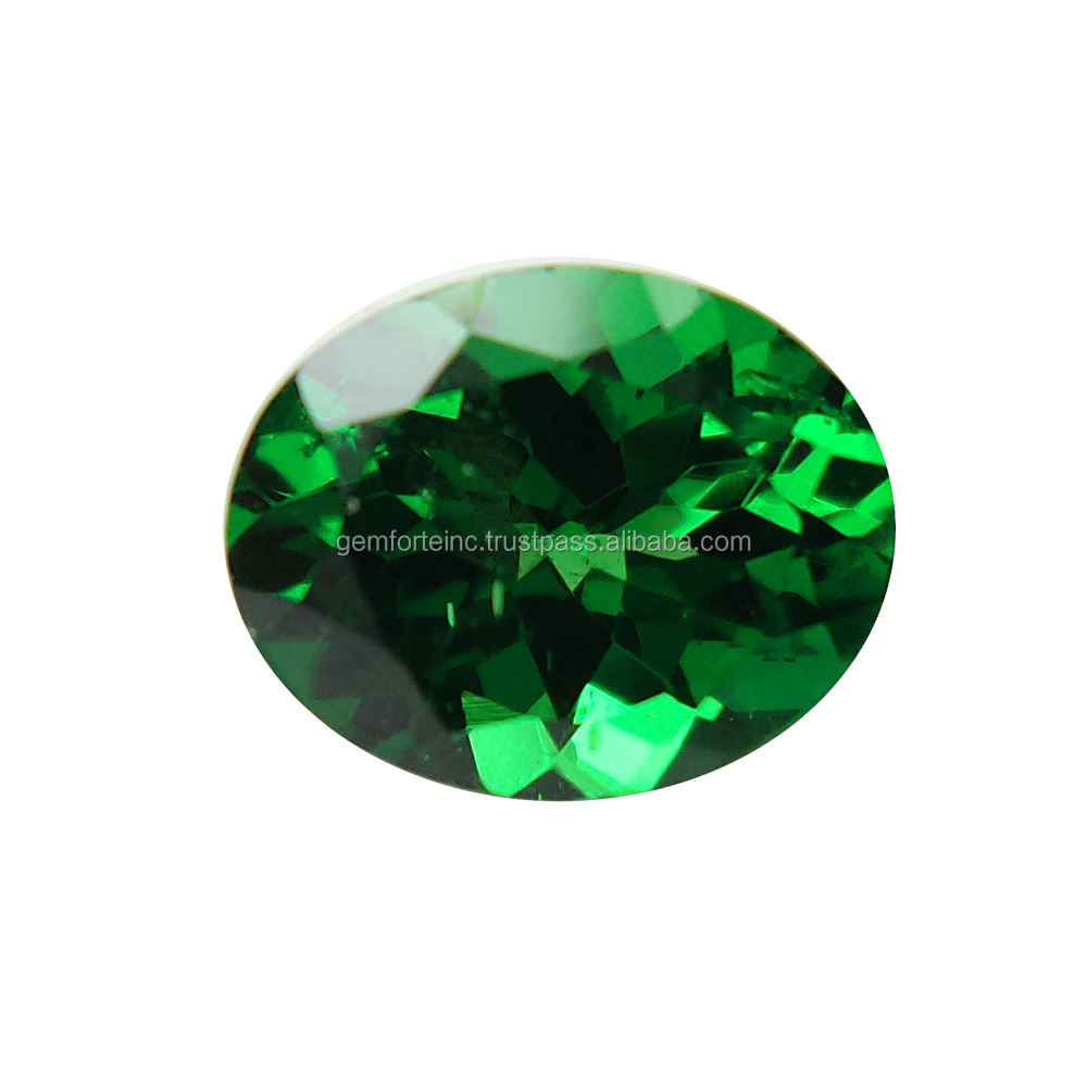 Natural Green Garnet Faceted Stone For Jewelry