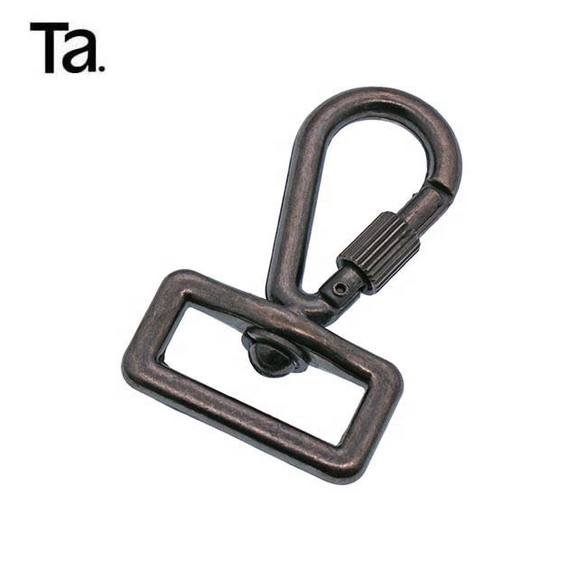 TANAI 22mm safety black gumetal multi-purpose snap hook with screw lock aluminum carabiner hook with lock