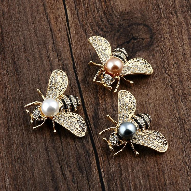 Europese en Amerika Luxe Vrouwen 18K Gold Crystal Insect Broche Strass <span class=keywords><strong>Parel</strong></span> Bee Broche <span class=keywords><strong>Pin</strong></span>