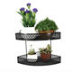 Double layer Sector desk rack rack office flower stand desktop flower pot small wrought iron hanging office pot storage