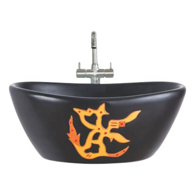 Fashion Trend Black Ceramic Table Top Bathroom Sink Decorative Sanitary wares Attractive Wash Basin Direct Factory Price India