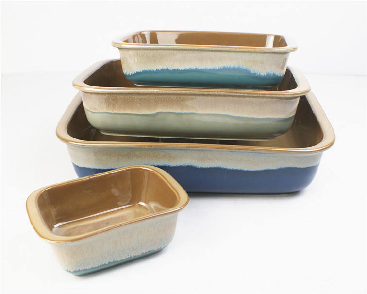 different size ceramic rectangular bakeware colorful stoneware baking tray and dish