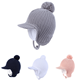 Toddler Boys Girls Fleece Lined Knit Kids Peaked Brim Hat with Earflap Winter Hat
