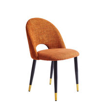 sillas comedor Mid Century Luxury Orange Linen Fabric Upholstered Hotel Home furniture Dining Chair stoelen