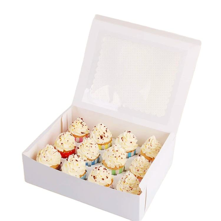 custom print cake box with window 4 pack cupcake boxes