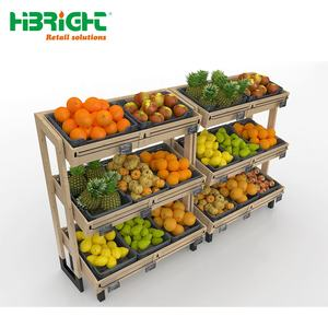Supermarkt Apparatuur 3 Tier Houten Display Stand Groente Fruit Rack