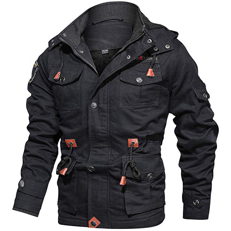 2019 Fashion Coat Big Pockets Mens Outdoor Jacket Winter 4XL Fleece Hooded Tactical Jacket