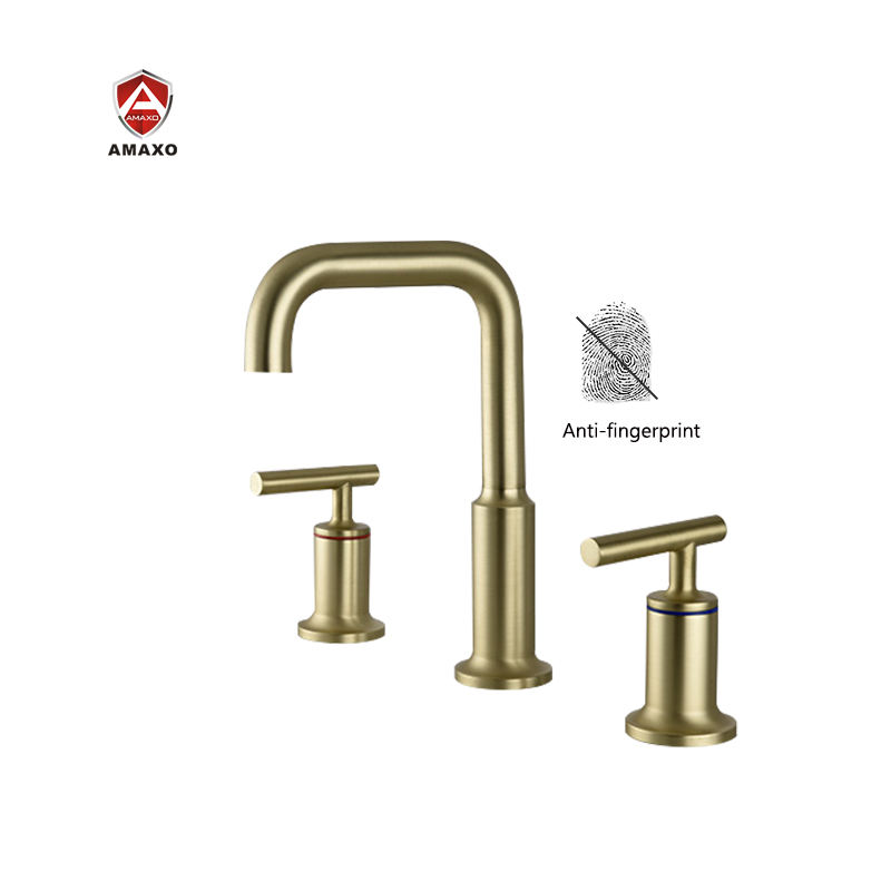 Hot Sales Widespread Lavatory Faucet With Low Gooseneck Spout And Moderne Brushed Gold 3 Hole 2 Way Bathroom Faucet