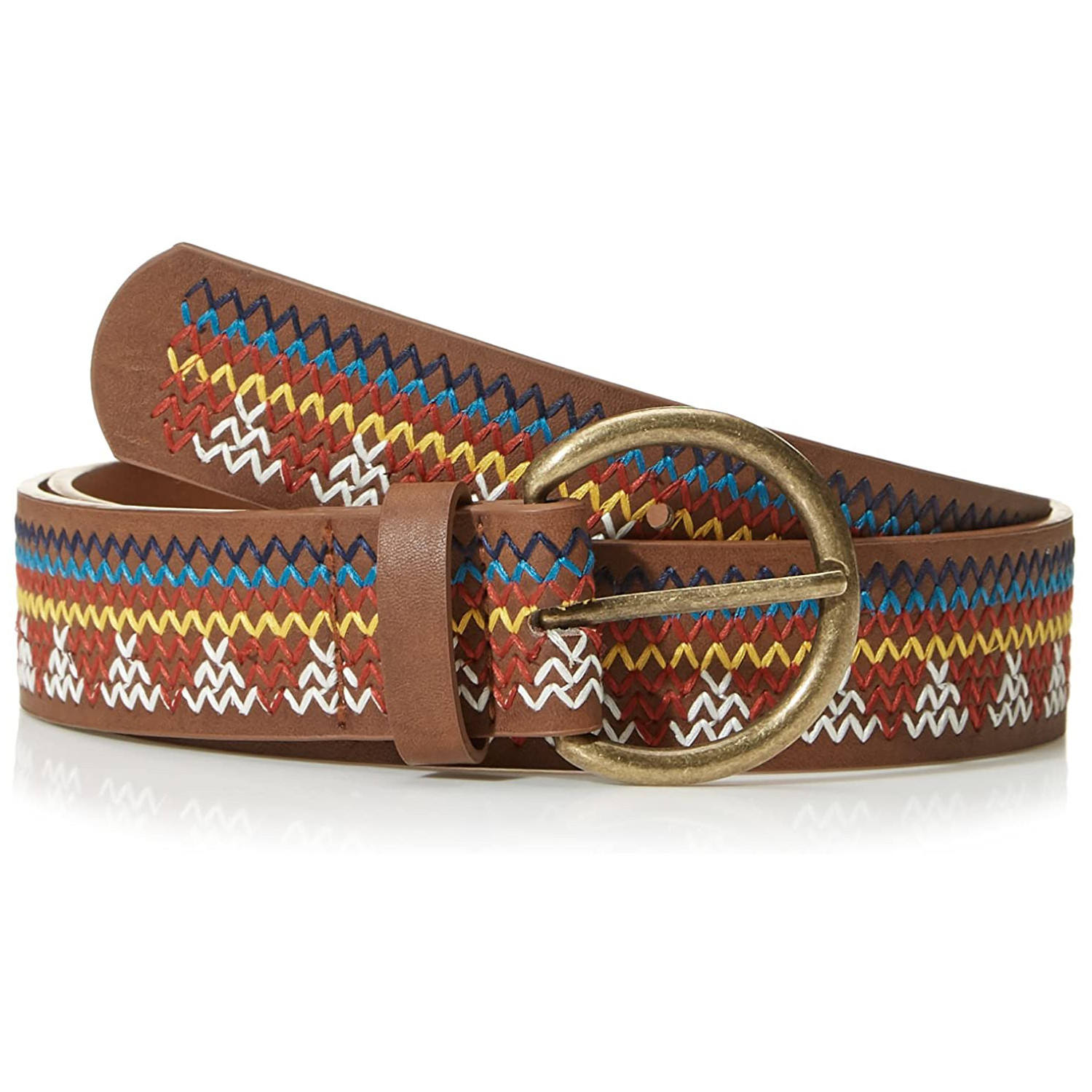 Casual Beautiful Colorful String Braided Embroidery Genuine Leather Belt for Women